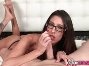 Busty spex babe pov sucking on cock