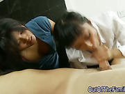 Asian step family hoes suck cock