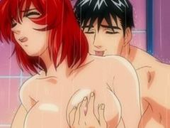 Busty hentai fucked with his muscular friend