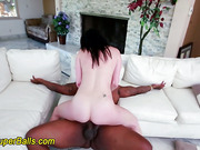 White slut facialzed by big black cock
