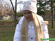 Amateur blonde babe talked around