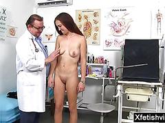 Brunette doctor fetish and cumshot