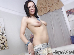 Dicksucking glam babe fucked in gaping ass