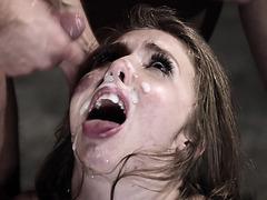 Screaming loud in agony as she gets brutally gangbanged!