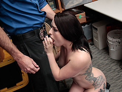 Busty Shoplifter Raven Reign fucked by horny lost prevention officer