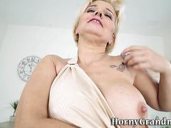 Cock tugging granny fucks