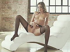 Petite skinny Russian beauty Maria Rya fingers pussy and ass