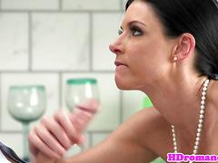 Amateur tan line milf sucks cock in kitchen