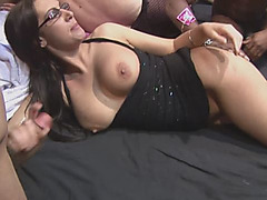 Hot european slut gets on her knees as she enjoys being gangbanged