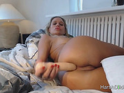 Busty Blonde Hard Dildoing Herself