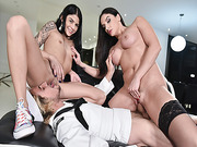 Sheena Ryder rides the sturdy Stepsons Navy cock on top