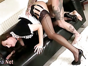 Stockings brit milf facialized