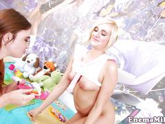 Rimmed wam fetish babe pleasured by lesbo