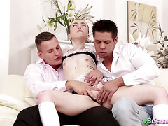 Two bi dudes screw with a maid