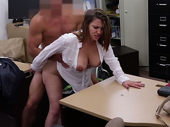 Milf with big ass and big tits fucked in pawn shop