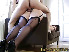 Stockings milf swallows cum