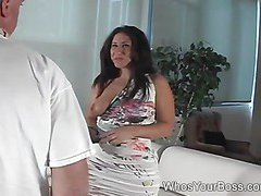 Submissive man gets penetrated by a hot femdom