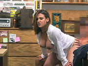 Blonde busty babe  Fucked inside the pawn shop office while she is selling her Collection