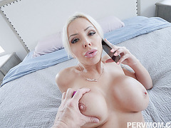Hot stepmom Nina Elle toys and fingers her pussy