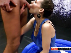 Two horny men drill and piss on beautiful brunette