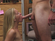 Blonde hot chick sells herself