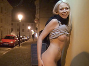 Karol exposes her tits and ass in public and have sex with a stranger