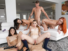 Leaked sixsome fucky sucky with coed besties