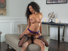 Busty black chick sucking and riding big black cock
