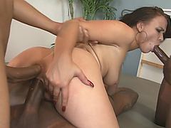 Pretty babe blowjobs and double banged by black dongs