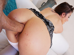 Mick Blue anal fucks Adria Rae from behind romping her doggystyle