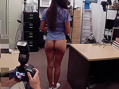 Horny  Brunette Nurse gets big cash for sex inside of the pawn shop office by the owner