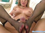 Squirty blonde milf gives head and more