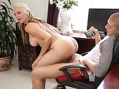 Stepmom MILF fucks her big dick stepson in her office