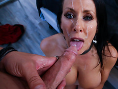 Ikes hard cock buried inside stepmoms pussy