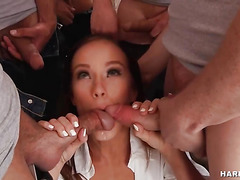 Horny Pornstar Enjoys Multiple Cumshots on Face
