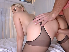 Stepson almost got caught while fuck busty MILF stepmom