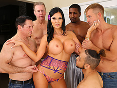 Busty British  MILF Jasmine Jae insane gangbang session
