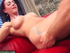 Amazing glam tranny anally banged on the bed
