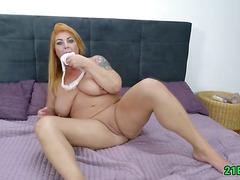 Mature babe with big tits fucks really hard