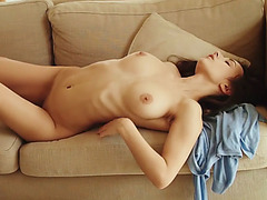 Glamorous Gloria shows her huge boobs and shaved pussy
