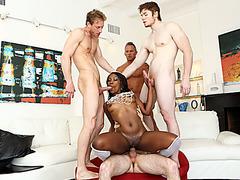 Gorgeous black babe gangbanged by four white guys