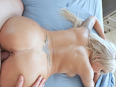 Super hot mom lets stepson goes in deep in her milf pussy