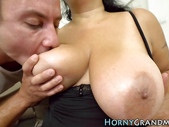 Mature busty lady spermed