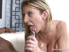 Horny blonde housewife missed black cock so much