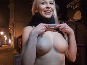 Karol gets picked up and creampie drips from her pussy after hardcore fuck