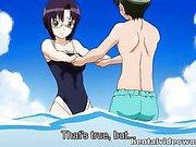 Anime swimsuit girl has sex on the beach