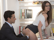 Brunnette Brooklyns messy office sex with her boss