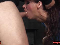 Tiedup sub milf sloppy deepthroating dick