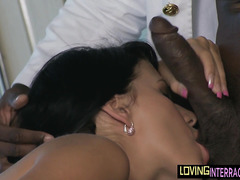 Seductive euro girl deepthroats black dong