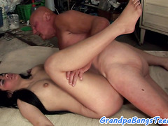 Doggystyled eurobabe drilled by grandpa